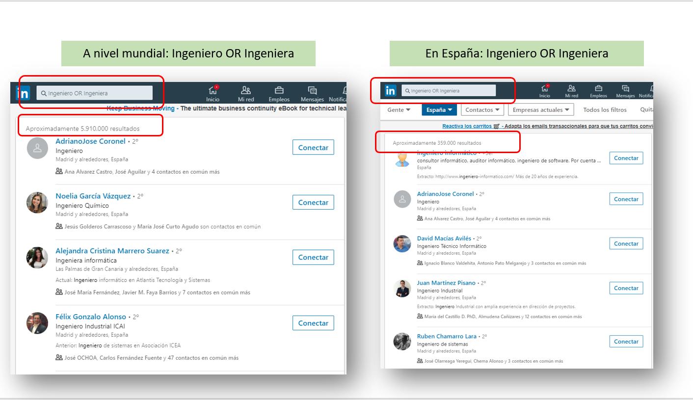 Búsqueda avanzada en LinkedIn: Ingeniero o Ingeniera